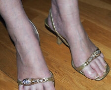 Gucci TOM FORD gold strap heels w/ CRYSTAL TIGER HEAD size 38C uk size 5-7