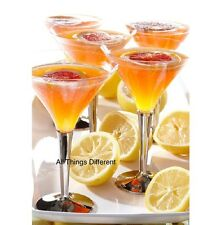 12 Martini Cocktail Glasses / Dessert Silver Stem Disposable Weddings Prom Party