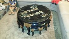 oriental Chinese Black lacquer coffee table mother of pearl hand carved 4 stools