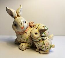 Mother & Baby Bunny Rabbits Figurine ~ Spring Easter Decor