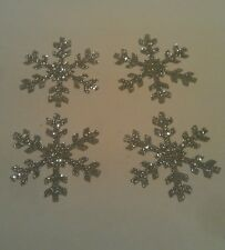 4 silver glitter snowflakes iron on transfers for christmas/frozen projects 50mm