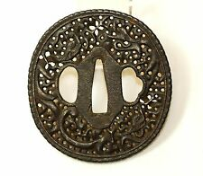 Old Japanese Iron TSUBA for Katana 'Namban' Samurai Sword Fittings #035