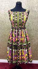 STUNNING TRUE VINTAGE 1950's HEAVY COTTON FLORAL DRESS - SIZE 8