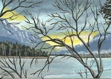 """Aceo original acrylic painting """"Late Sun in Winter"""" by J. Hutson"""