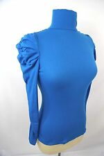 D20 Puff Princess Ruched Sleeve Teal Blue Lightweight Turtleneck Med Stretch