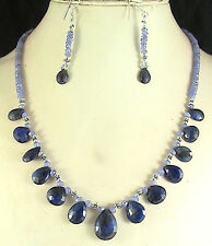 149ct NATURAL TANZANITE SAPPHIRE BRIOLETTES BEADS NECKLACE FREE SHIPPING WORLD