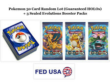 Pokemon TCG: 50 Card Lot Guaranteed 5 HOLOs + 3 Evolutions Booster Packs