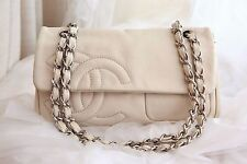 VERIFIED Authentic Chanel White Leather Quilted CC Medium Sized Flap Bag