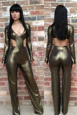 sexy Langarm Overall Catsuit Bodycon Jumpsuit Cut Out Wetlook metallic khaki M