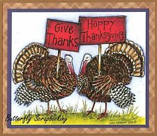 THANKSGIVING TURKEY PAIR THANKS Wood Mounted Rubber Stamp NORTHWOODS P10094 New