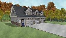 Triple Car / 3 Car Garage Architectural Plans - 43 X 30 With Loft