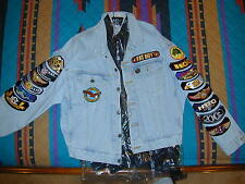 Levis Denim jacket with Harley Davidson HOG patches Large Heavy US Flag Fatboy