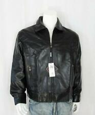 Mens AE High Fashion Motorcycle Black Like Leather Zip Jacket Coat Size Large