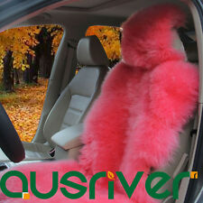 Pink Premium Quality Australian Sheep Skin Car Long Wool Front Seat Cover