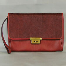 FOSSIL Leather Calfhair Memoir Diary Clutch Purse Wristlet LIKE NEW Red MSR $128
