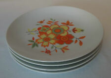 Vintage Seyei Fine China Side Plates x 4 *Red & Yellow Floral 'Ilikai' Pattern