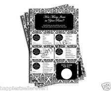 50 What's In Your Purse Hunt game sheets bridal baby shower Black and White