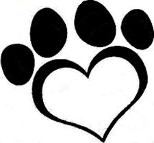 20  WATER SLIDE NAIL DECALS TRANSFERS BLACK paw print in a heart