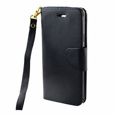 FOR SAMSUNG Galaxy Note 4 BLACK 2 TONE WALLET STRAP ACCESSORY SKIN COVER CASE