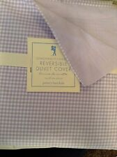 Pottery Barn Kids Gingham Chambray Reversible Twin Duvet Cover NEW! Lavender