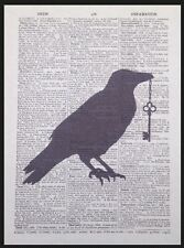 Vintage Crow Key Print Dictionary Page Wall Art Picture Bird Silhouette Gothic