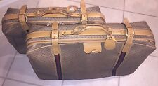 2 Vintage Authentic Gucci Tan Brown Logo Canvas Luggage Suitcases Large
