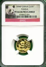 CHINA  PANDA  1994  NGC proof  66  1/10 OZ  GOLD  10 YUAN  minted-864  very low
