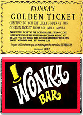 A5 Wafer Paper Willy Wonka Bar and Golden Ticket Edible ** Cake Topper **