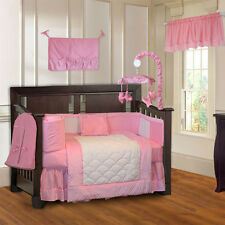 10 Piece Minky Pink Girls Ultra-Soft Baby Crib Bedding set with Musical Mobile