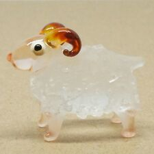 """WHITE SHEEP"" HAND BLOWN GLASS ANIMAL FIGURINE miniature home farm collection"