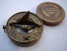 Brass Pocket Sundial Compass w/ Lid ~ Antique Finish ~ Nautical Maritime