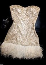 NWT bebe IsIs Dress beige gold sequin feather strapless bustier top S small 4