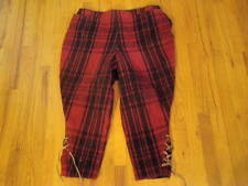 Vintage Black Red Wool Plaid Hunting Pants Men Waist 36 Lace Up over Boots  A60