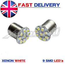 2x Ba15s P21W 9 SMD LED Xenon White VW Golf Mk4 4 Rear Tail Reverse Light Bulbs