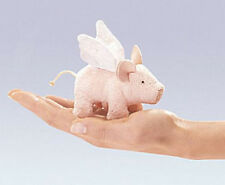 Mini WINGED PIGLET Finger Puppet  # 2685 ~ FREE SHIP in USA ~ Folkmanis Puppets