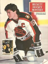 Beckett Hockey Monthly February 1991 Mario Lemieux cover Joe Sakic back