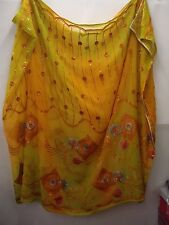 Vintage Orange and Lime Dupatta Indian Scarf Embroidered Sarong Veil Stole Hijab