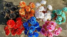 Joblot of 30 Mixed colour rose Silk Artificial Flower Bunches wholesale lot 17