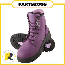 Steel Blue Argyle Ladies Work Steel Cap Boots Shoes Purple Leather New All Sizes