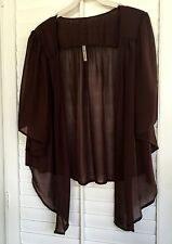 Womens Chiffon Brown Cardigan Bolero Shrug Yummy Plus Size 2X