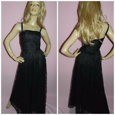 70s 80s BLACK LACE MAXI PRINCESS PROM PARTY DRESS 14-16 L GOTHIC EVENING 1980s