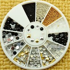 Square Round Nail Studs Metal Multisize 3D Nail Art Decoration for DIY 1-3.5mm