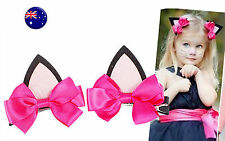 Lady Girl Kids Pink Kitty Cat Ears Ribbon bow Party Hair Clip Pin Costume PROP
