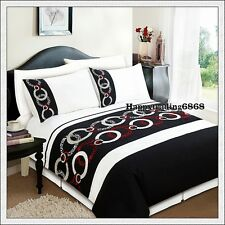 280TC Black White Burgundy Embroidery Pintuck 3pc KING QUILT DOONA COVER SET