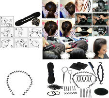 Beauty Roller Braid Twist Elastics Pins Hair Design Styling Tools Kit Black