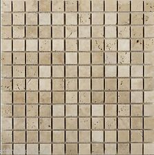 Sample of Tumbled Light Travertine MOSAIC Tiles 23x23 mm
