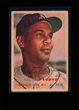 1957 TOPPS #6 HECTOR LOPEZ AUTHENTIC ON CARD AUTOGRAPH SIGNATURE AX1952