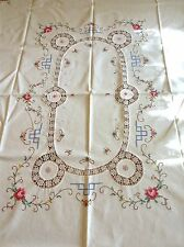 Vtg NOS Linen Table Cloth & 6 Napkins Hand Embroidered Crochet Cross Stitch