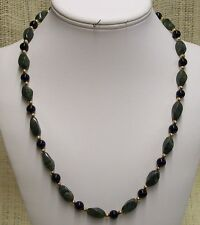 Necklace Handmade With Lizardite and Black Obsidian with Gold Plate Beads