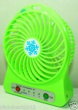 Portable Mini Rechargeable LED Light Fan With Battery  & USB Cable-Green